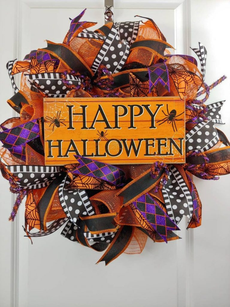 Happy Halloween sign door wreath