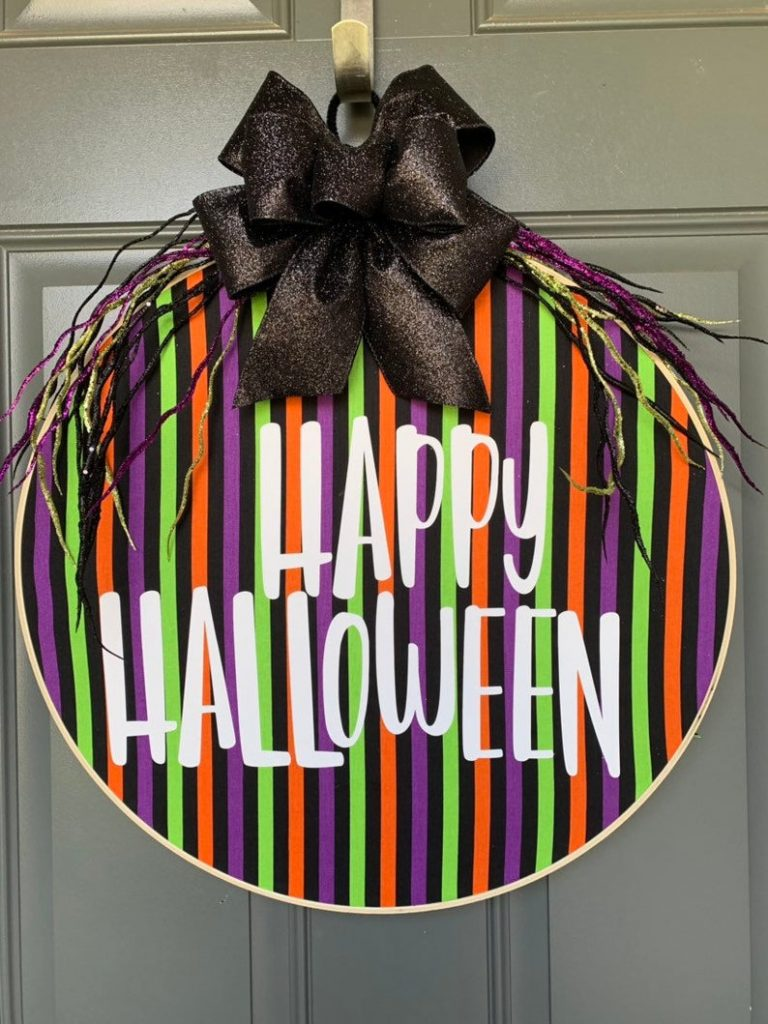 Colorful Halloween door decor