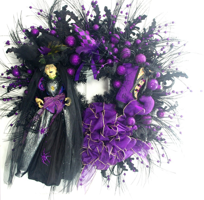 HAlloween witch black and purple door wreath