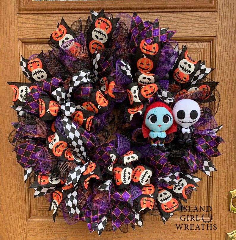 Halloween door wreath jack o lanterns