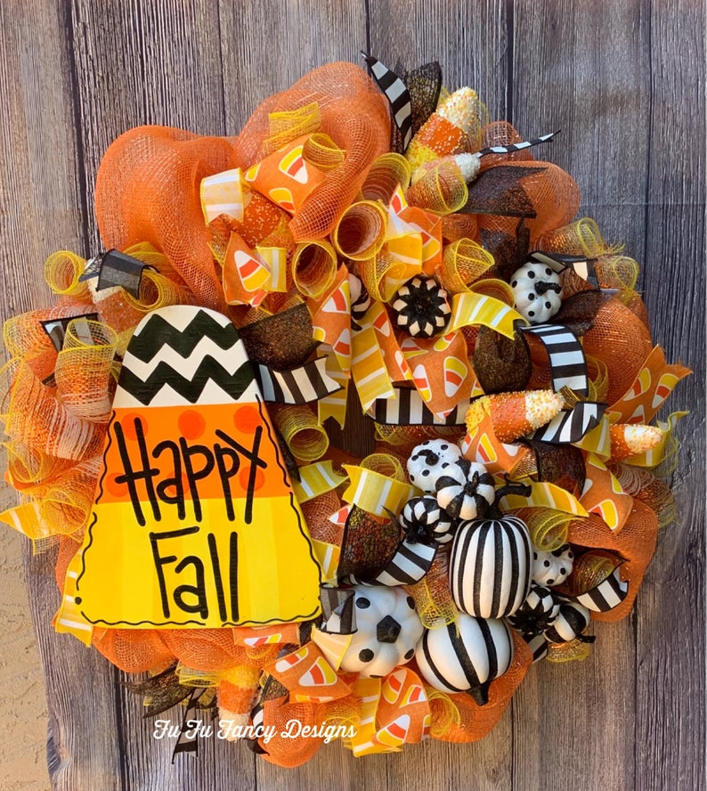 Happy FAll Halloween candy corn wreath