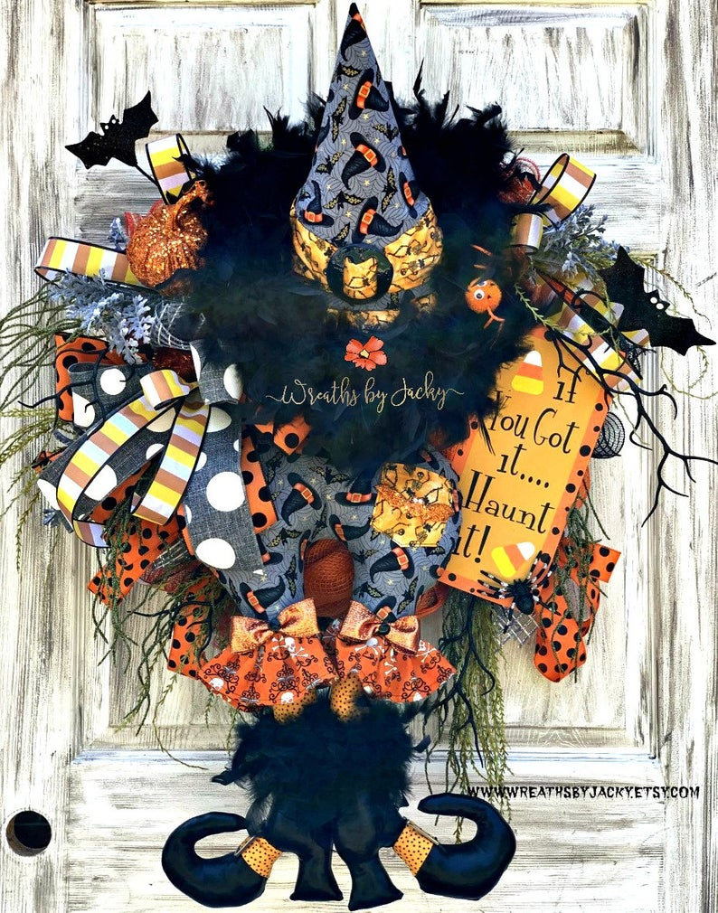 Cute witch Halloween wreath for front door